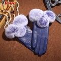 Thick Warm Women's Sheepskin Gloves Natural Real Rex Rabbit Fur Genuine Leather Winter Gloves Mitten