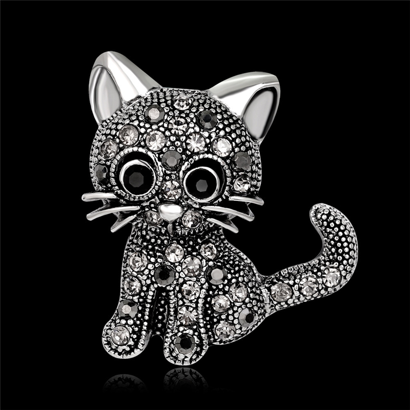 Fashion Cute Vintage Little Cat Brooches Pin Up Jewelry For Women Suit Hat Clips Corsages Brand Bijoux Crystal Brooch Bijouterie