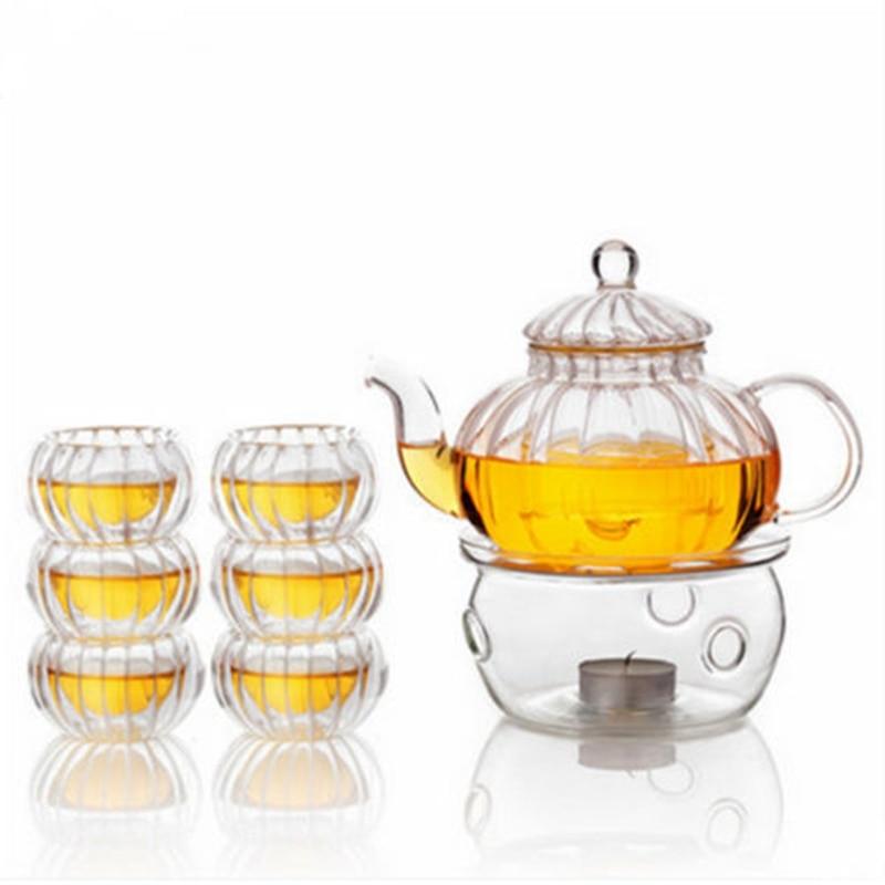 600ml Double Wall Glass Tea Pot Heat Resistant Pumpkin Glass Tea Pot Set Infuser Teapot+Warmer+ 6 Tea Cups Coffee Kettle Gift
