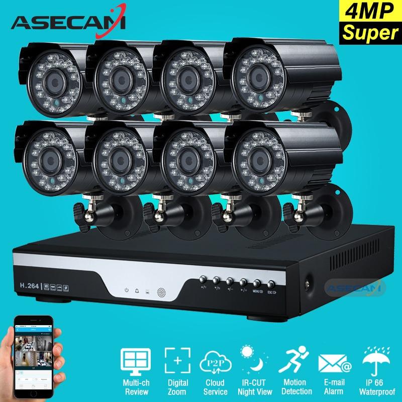 Супер 4mp HD 8-канальный наблюдения домашней черный маленький металлический Пуля безопасности Камера h.264 dvr комплект открытый 8ch CCTV Системы ком...