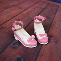 D01 P171 children handmade toy 1/3 1/4 Doll Accessories BJD/SD doll pink buckle bow princess shoes 1pair