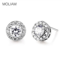 MOLIAM Stud Earings for Women Silver Color CZ Round Crystals Cubic Zirconia Wedding Jewelry Hot Sale MLE308