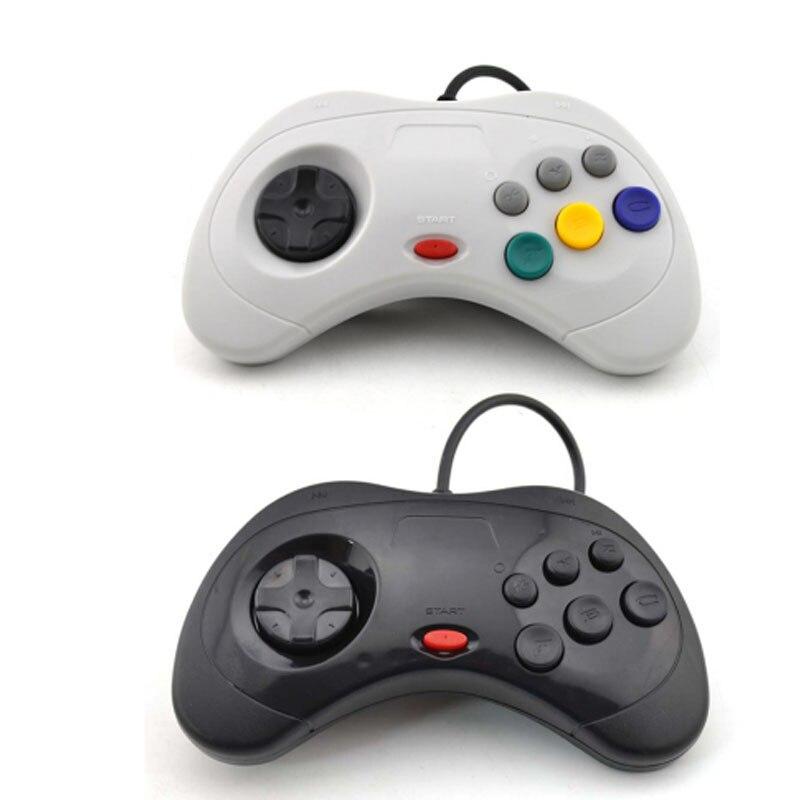 ViGRAND 2 pièces noir blanc pour Sega Saturn USB contrôleur de jeu filaire manette manette JoyPad pour PC