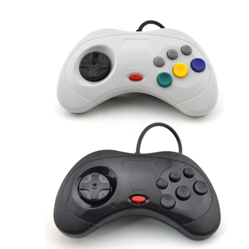 ViGRAND 2PCS black white For Sega Saturn USB Wired game Controller Gamepad JoyPad Joystick For PC image
