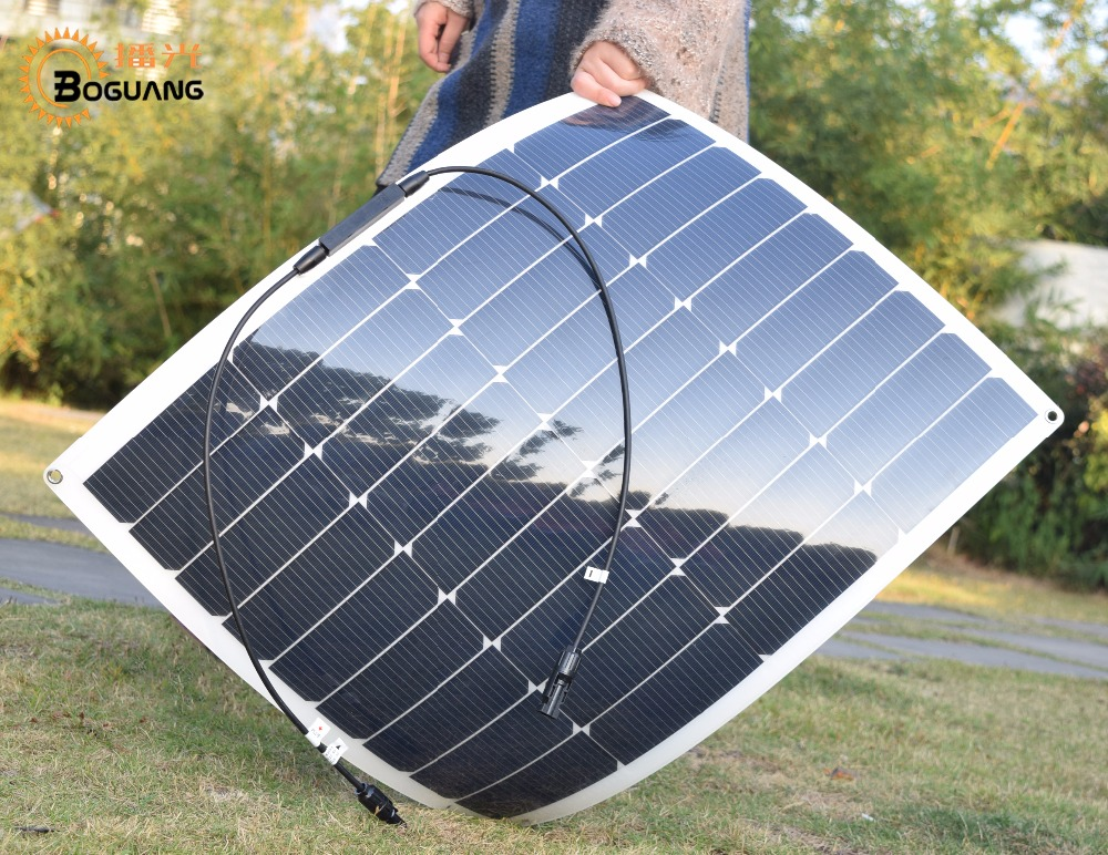 NEW Boguang 18v 50w flexible solar panel Monocrystalline silicon cell MC4 connector for 12 system kit battery RV yacht 50w 12v semi flexible monocrystalline silicon solar panel solar battery power generater for battery rv car boat aircraft tourism