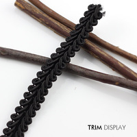 Black Lace Braided Gimp Lace Ribbon Trim Clothing Embellishment Sew on Applique Fabric Trimming 9mm Sewing Supplies 40yard/T914