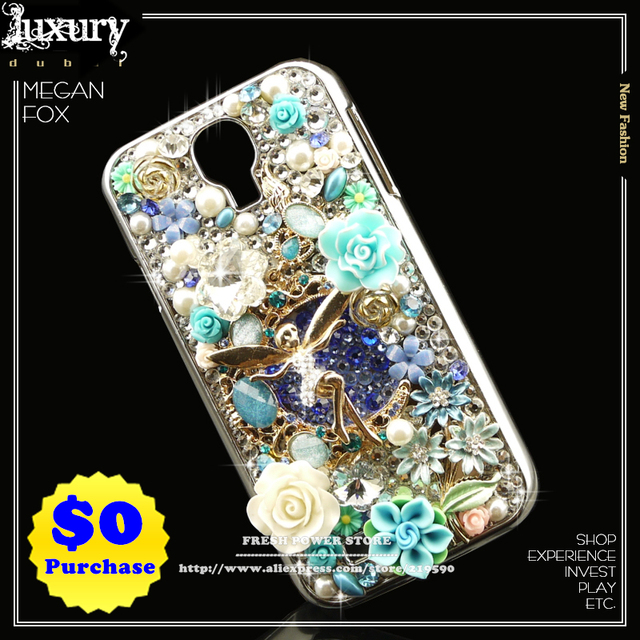 2013 NEW Luxury 3D Bling Crystal Gold Angel Rhinestone Handmade Mobile Phone Cases Covers for Samsung Galaxy S4 SIIII SIV i9500