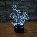 3D ilusão Visual LED Decoração Da Lâmpada Atmosfera lâmpada 7 Mudando A Cor Pokemon Charizard Casa Decoração De Mesa para o Presente da Criança