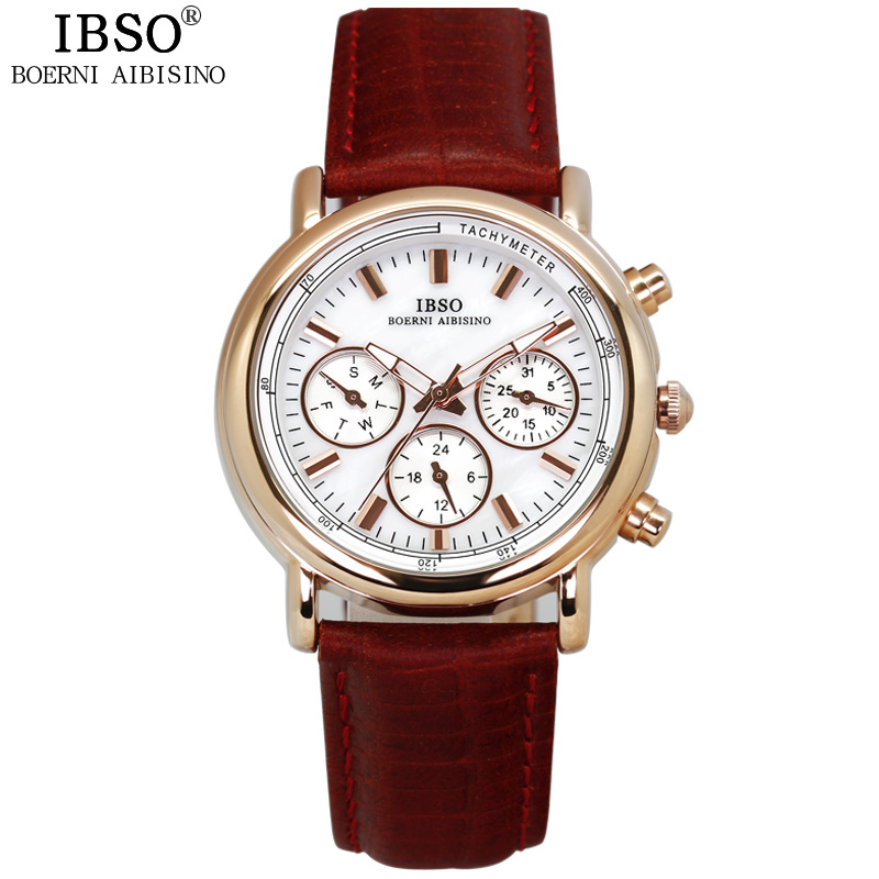 IBSO Multi function dial Ladies Watches 2019 Calendar Brand Luxury Genuine Leather Strap Waterproof Watches Woman