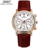IBSO Multi-function dial Ladies Watches 2019 Calendar Brand Luxury Genuine Leather Strap Waterproof Watches Woman Montre Femme