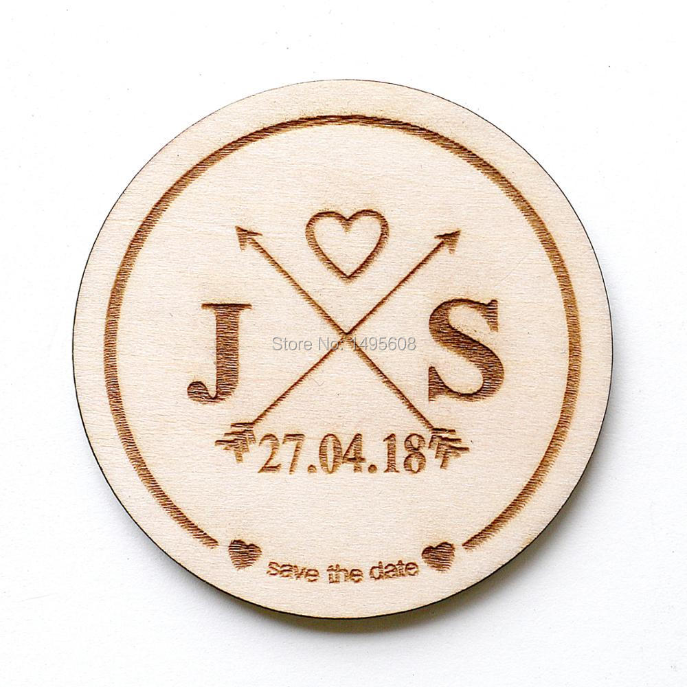 Save The Date Magnets Rustic Custom Wood Circles Engraved In Party Favors From Home Garden On Aliexpress