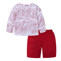 boys clothes children tracksuit 2018 fashion Long sleeve printed T shirt + red skirt sets toddler clothing boys sport suits New