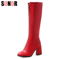 Large Size 44 Zip Knee High Boots Women Autumn Soft Leather Fashion White Square Heel Woman Shoes Winter Hot Sale m277