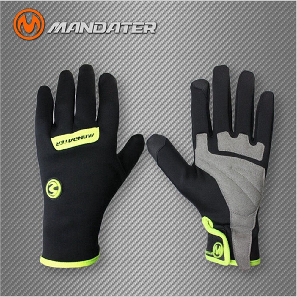 2016 MANDATER Touch Screen Waterproof Bike Team Winter Cycling Bike Bicycle Full Finger Shockproof Gloves Outdoor Hiking Gloves