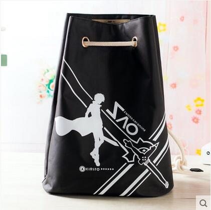 Free shipping Sword Art Online Top Anime Japanese casual backpack Drawstring beam port Cartoo black  schoolbag Shoulders bags