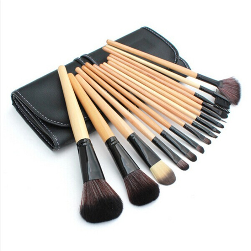 15 pcs Soft Synthetic Hair make up tools kit Cosmetic Beauty Makeup Brush Black Sets with Leather Case new makeup 15 pcs soft synthetic hair make up tools kit cosmetic beauty makeup brush set case free shipping