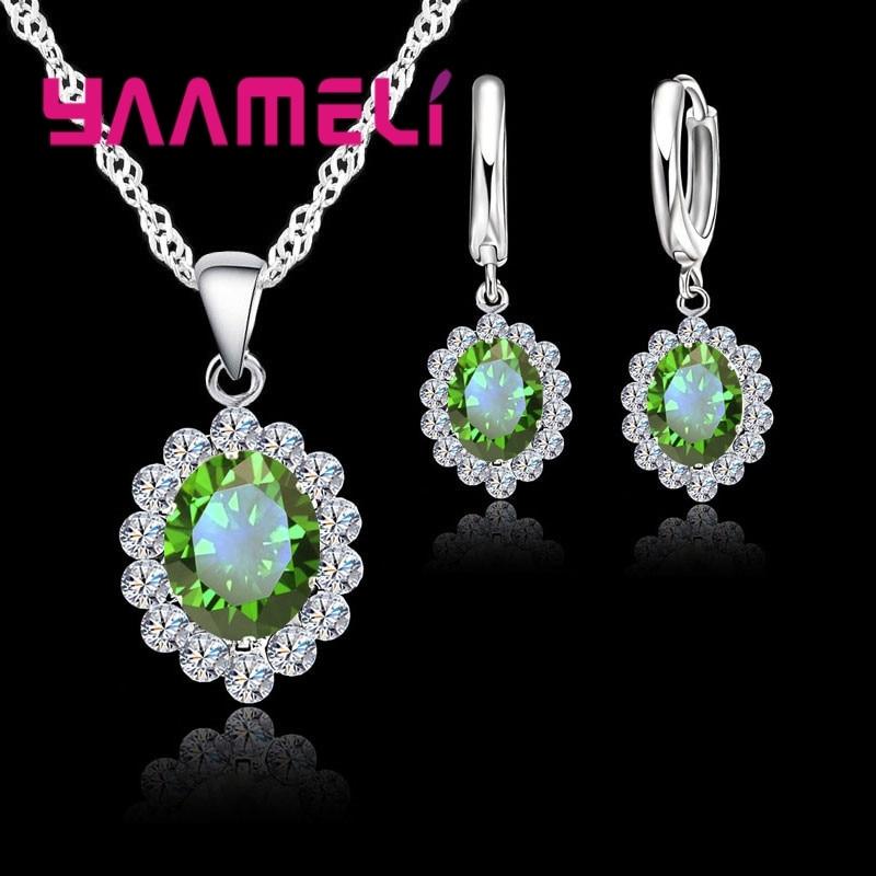Jewelry Sets Women 925 Sterling Silver Green Cubic Zircon Necklace Pendant Earring Wedding