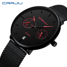CRRJU New Fashion Sports Mens Watches Top Brand Luxury Waterproof Simple Ultra-Thin Watch Men Quartz Clock Relogio Masculino