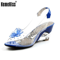 New Summer Sandals Women Peep Open Toe Wedge Sandals With Flowers Sweet Jelly Shoes Woman Shoes