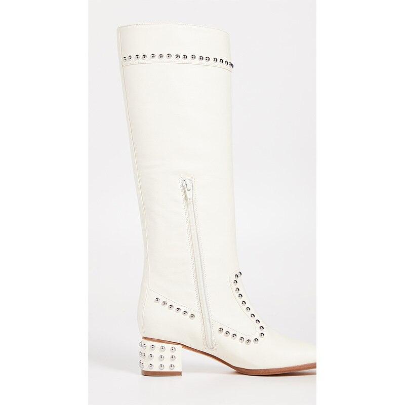 Vestido 46 Tamaño Invierno Zapatos Zip Más Side Otoño Western Tacones Tobillo Mujer De Ty01 Bloque Kiki Chunky Remaches Blanco nqa0wT8FW
