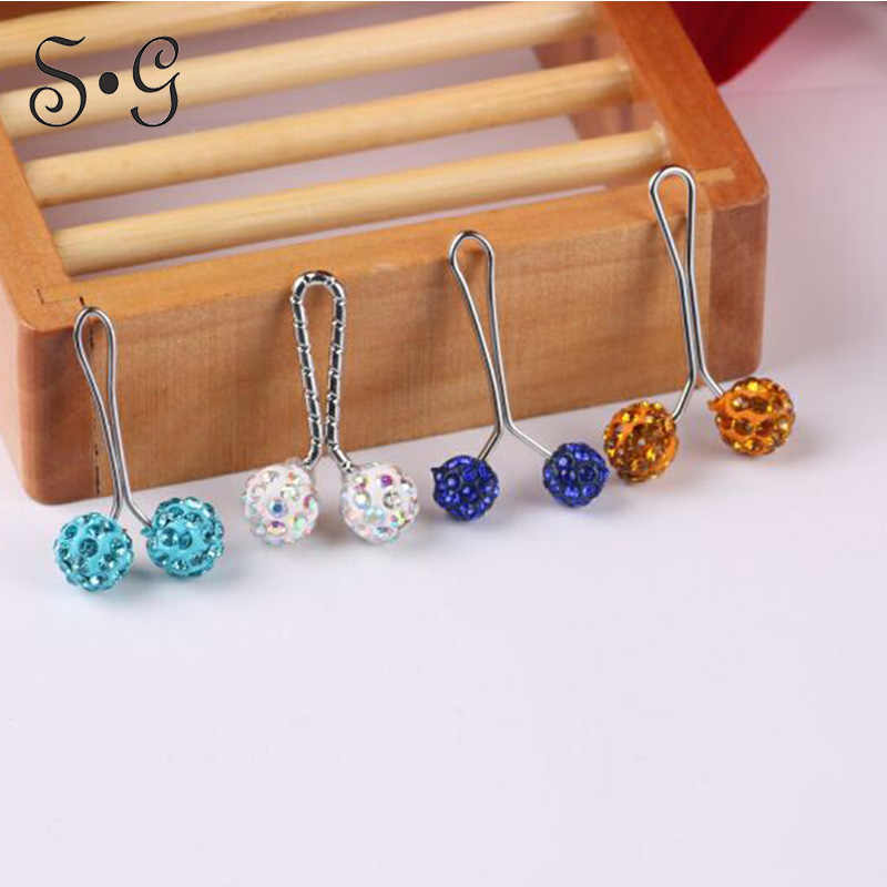 12 pcs Muslim Hijab clip rhinestone Ball scarf/shawl clip Mix Color islamic Women scarves Safety Crystal Shawl pin Hijab Buckles