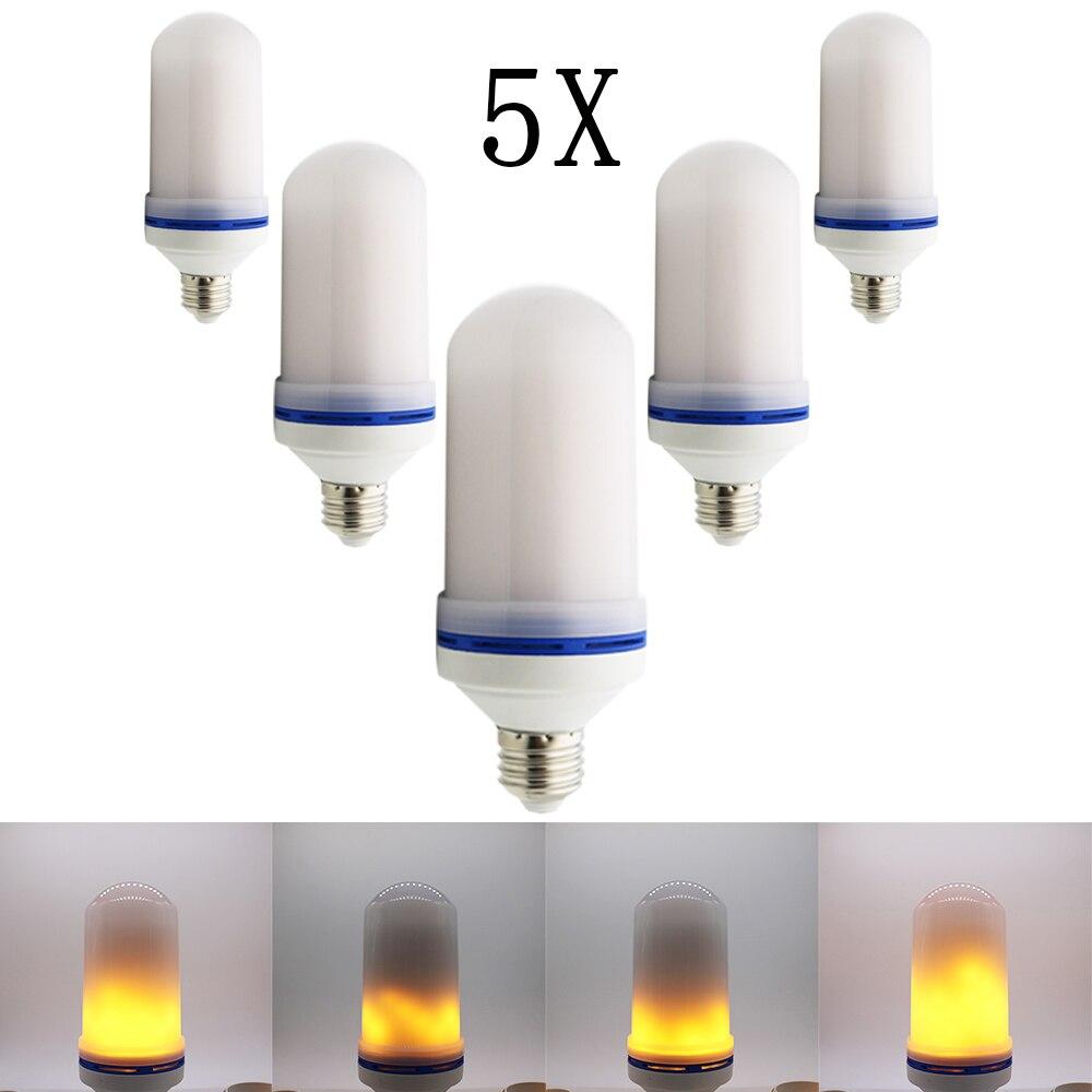 5pcs New E27 LED flame lamp Flame Light Effect Fire Corn Bulb 220V 110V 2835SMD Flickering Emulation Night Lights 1900K New Year