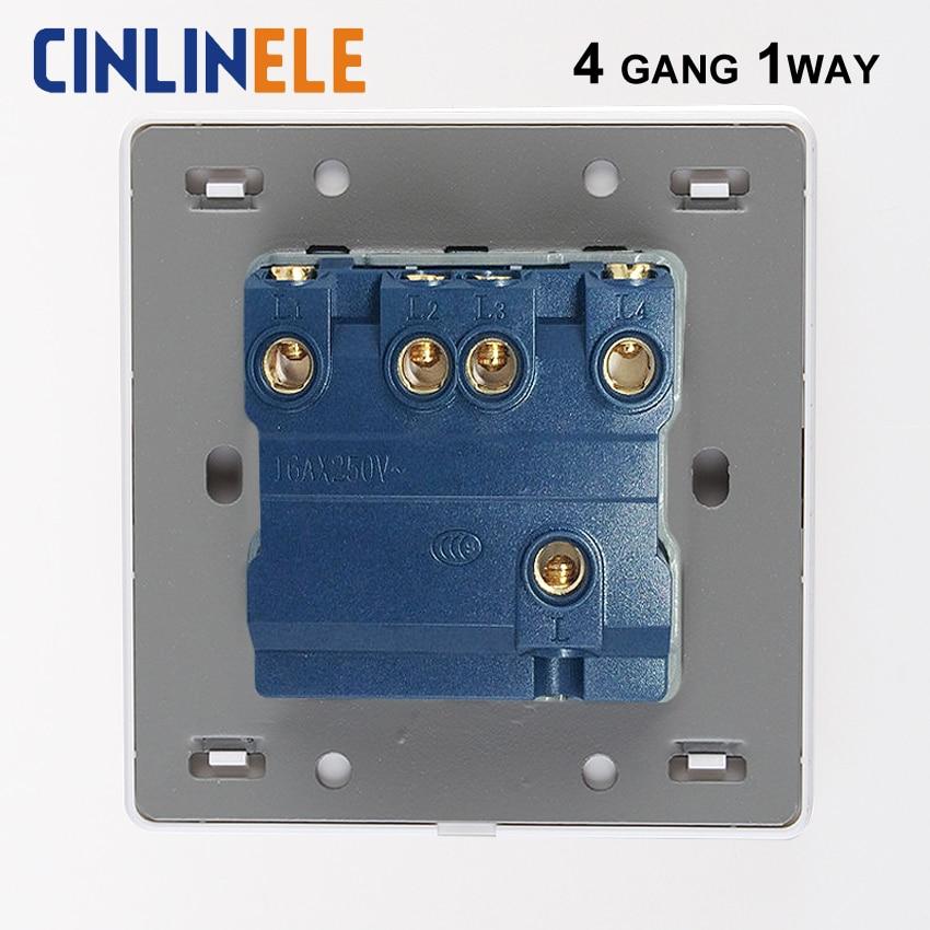 Luxury Wall Switch 4 Gang 1 Way White Brief Art Weave Light Switch ...