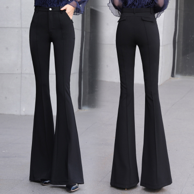 SMTHMA Women Summer Sping Fashion Solid Black Pants Ladies Elegant Bottom Wide Ruffles Trousers S M L XL 2XL Full Length 4