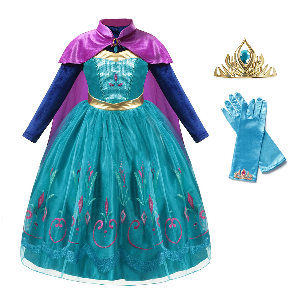 Princess Elsa Anna Dress for Girl Kids Costume Cosplay Snow Queen Sequin Long Cloak Gown Child Winter Christmas Party Costumes