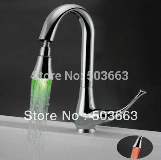 LED Faucet kitchen mixer tap chrome 3 colors b079 Mixer Tap Faucet
