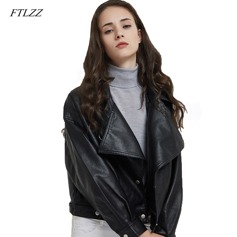 FTLZZ Women Faux   Leather   Jacket New Autumn Retro Short Coat Motor Zipper PU Red Jacket Vintage Street   Leather   Coats Outwear