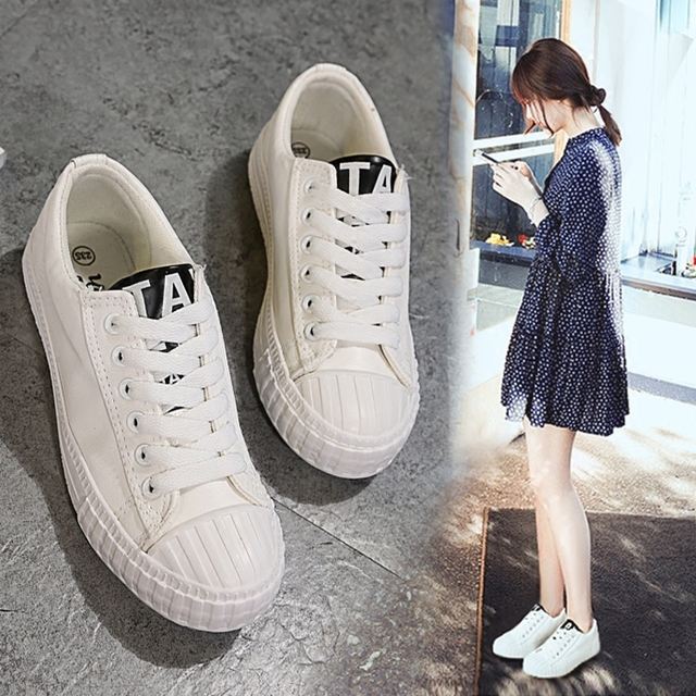 Black White Women's Casual Canvas Shoes Flat 2017 Spring New Student Shoes Low Cut 40 Chaussures de sport pour femmes