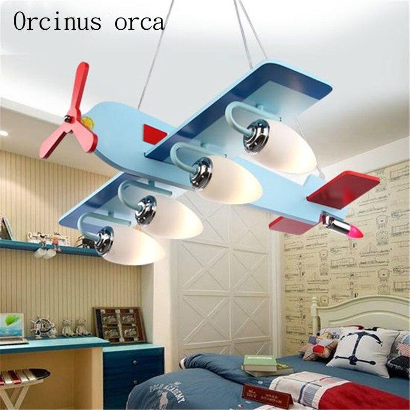 Dessin animé créatif avion lustre enfants chambre garçon chambre personnalité protection des yeux LED lustre livraison gratuite