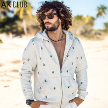 AK CLUB Men Hoodie Sweatshirt Plus Size Cuba Libre Series Portrait Print Hoodies Men Zipper Tracksuit Men Sweatshirt 1505004