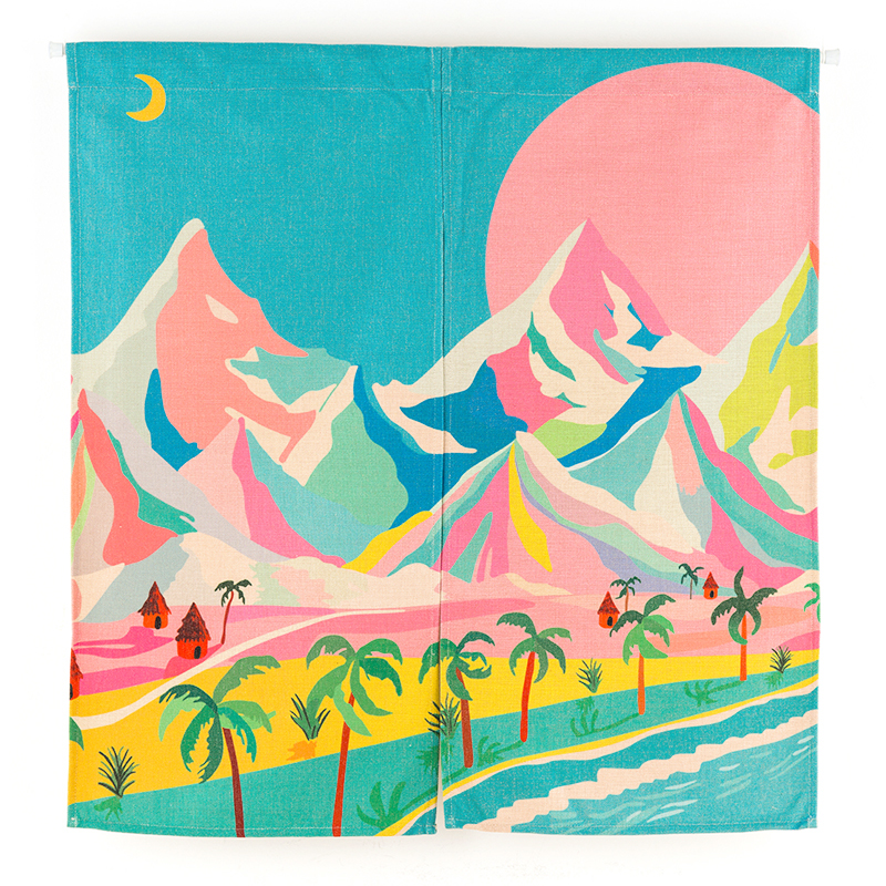 New Linen NOREN Japanese Style Door Curtain Palm Tree Beach Summer Country Sky Field Tapestry 85x120cm/85x90cm