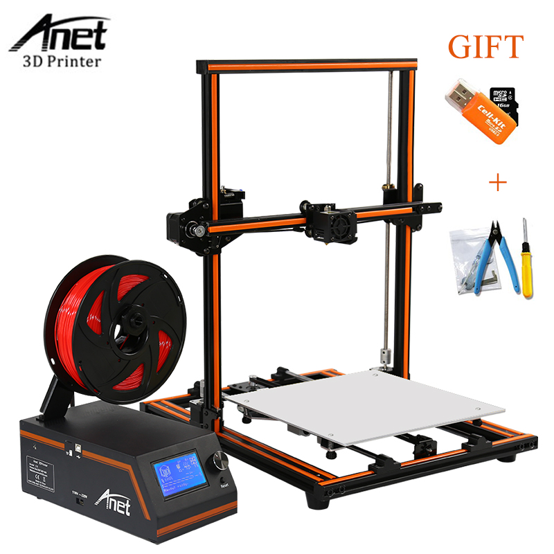 Anet E12 E10 3d Printer Large Printing Size High Precision Update Threaded Rod Reprap i3d 3D Printer Kit With PLA ABS Filament anet a9 3d printer easy assemble with metal plate aluminum frame high precision imprimante 3d diy kit with pla abs filament