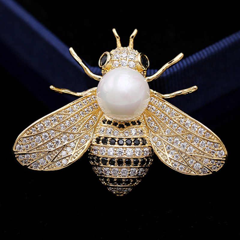 Merek mewah Mutiara Lebah bros perhiasan untuk pria Baik Tembaga pin bros pria pernikahan cubic zircon broches hijab pins aksesori