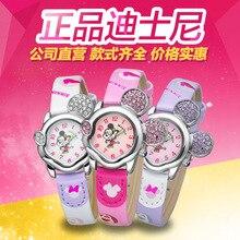 Disney бренда Микки часы дети Мальчик девушки 30 м водонепроницаемый кварцевые часы дети часы Кожа Аниме Мультфильм большое ухо