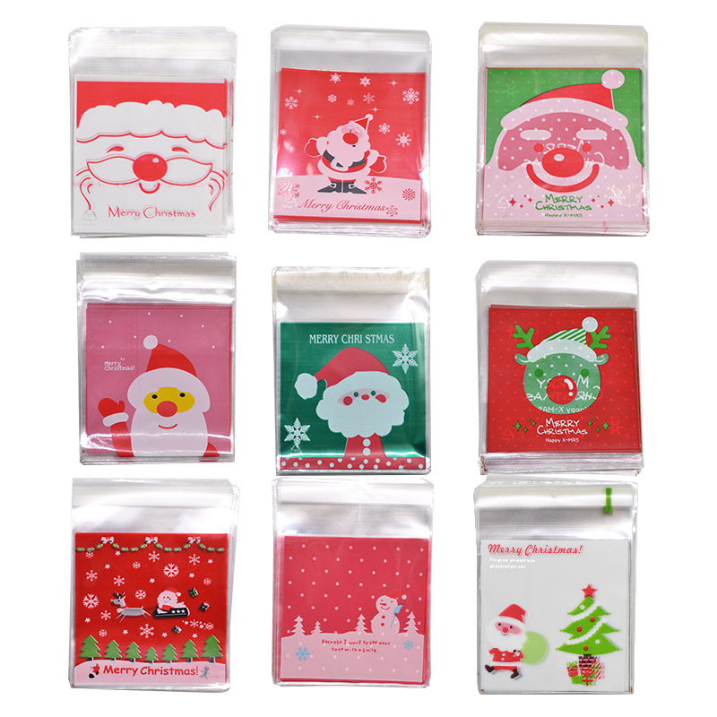 50Pcs 10*10cm Christmas Candy Cookie Gift Bags Plastic Self-adhesive Biscuits Snack Packaging Supplies Xmas  Party Decoration
