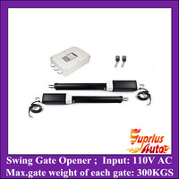 300KGS Max weight of each gate lift capacity, 110V AC input swing gate opener with two motors, one control box and two remotes