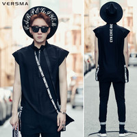 VERSMA Korean Style Stand Collar Ribbon Zipper Sleeveless T Shirt Vest Pullover Summer Harajuku GD Hip