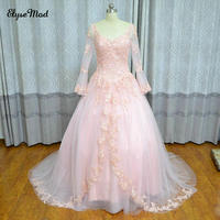Real Photo Ball Gown V Neck Pink Tulle Beaded Tulle Long Sleeves Women Bride Bridal Evening