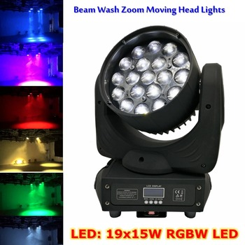 Testa Mobile A LED Luci 19X15W RGBW Luci del Palcoscenico Professionale 4-60 Gradi Zoom DJ DMX Della Discoteca fascio di Lavaggio Del Partito Effetto di Illuminazione