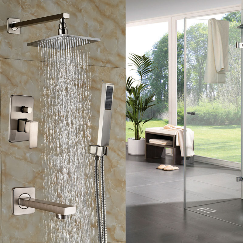 Wall Mount Brushed Nickel Shower Faucet Set Bathtub 8\