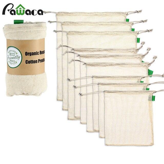 9 adet/takım Premium organik pamuk örgü çanta üretmek yeniden yıkanabilir depolama İpli alışveriş çantası, bakkal, meyve sebze