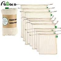 9 teile/satz Premium Organische Baumwolle Mesh Produzieren Taschen Wiederverwendbare Waschbar Lagerung Kordelzug Tasche für Shopping, Lebensmittel, Obst Gemüse