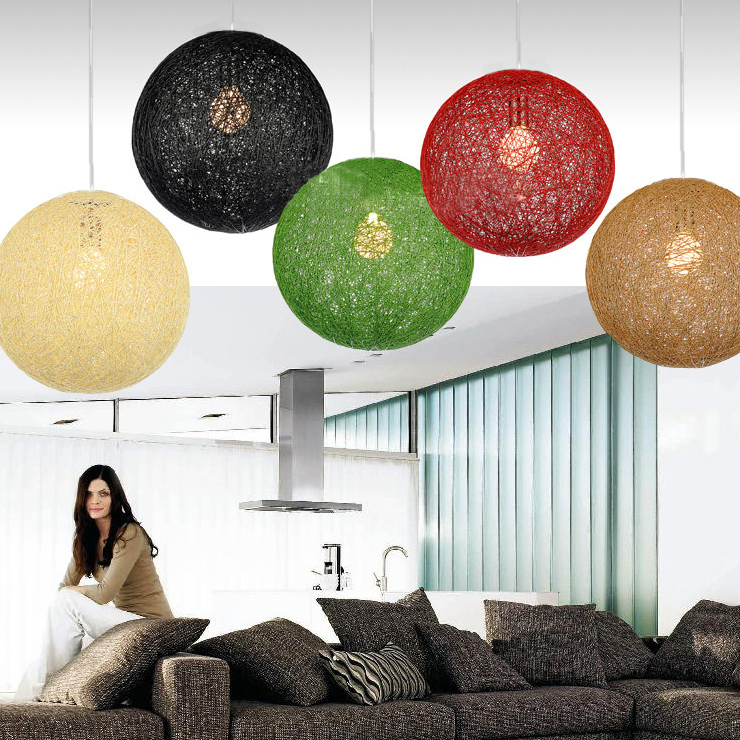 ФОТО Random Light Simple Rattan Ball Pendant Light Natural handmade twine vines ball lights Restaurant Bar  Lighting