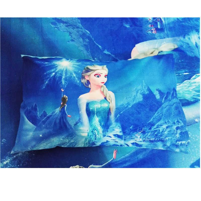 Azul dos desenhos animados Jogo do fundamento das Crianças Congelado Princesa Elsa Anna Crianças Duvet Cover Set Quarto Decor Gêmeo/Tamanho Único para 1.2 m Cama