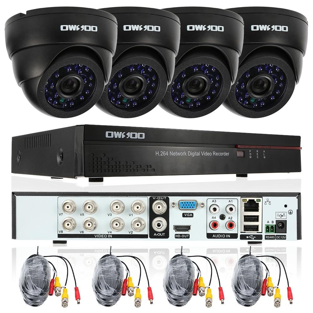 OWSOO Full 960H D1 HDMI 8CH DVR Kit 800TVL Security Camera System P2P Network DVR 4pcs