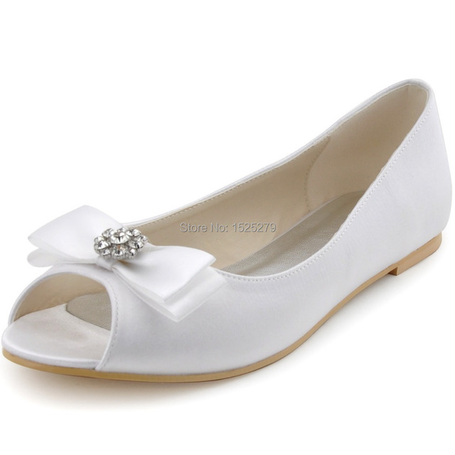 074ffeb8b4 US $55.99 |Free Shipping EP11102 White Ivory Women Peep Toe Bridal Prom  Party Flats Heel Bow Rhinestones Satin Wedding Bride Shoes-in Women's Flats  ...